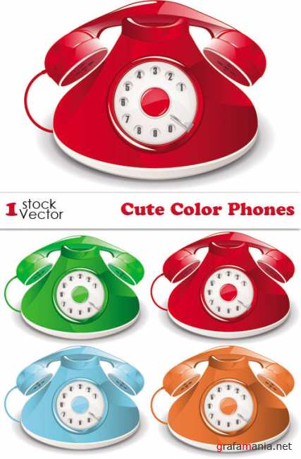 Cute Color Phones Vector