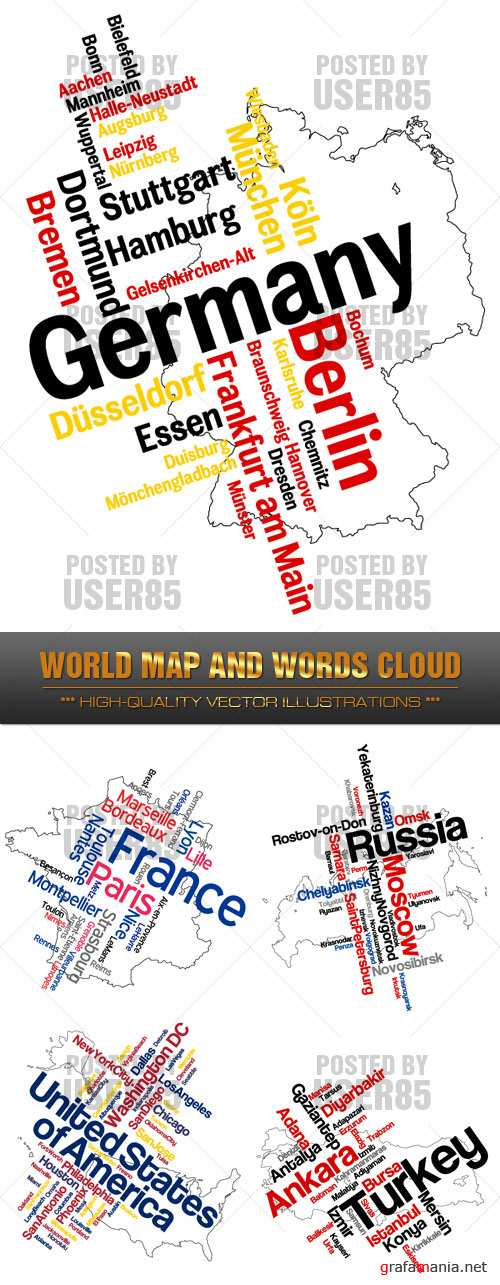 Stock Vector - World Map & Words Cloud