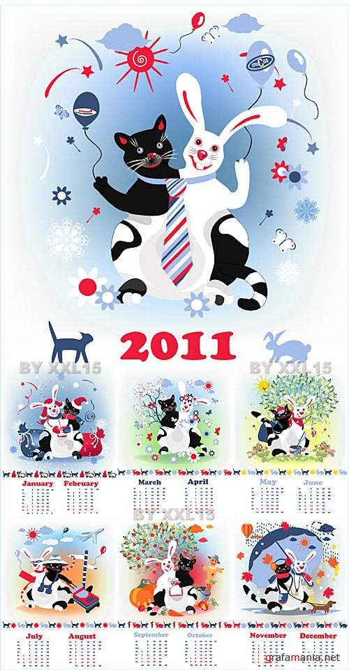 Cat & Rabbit calendar
