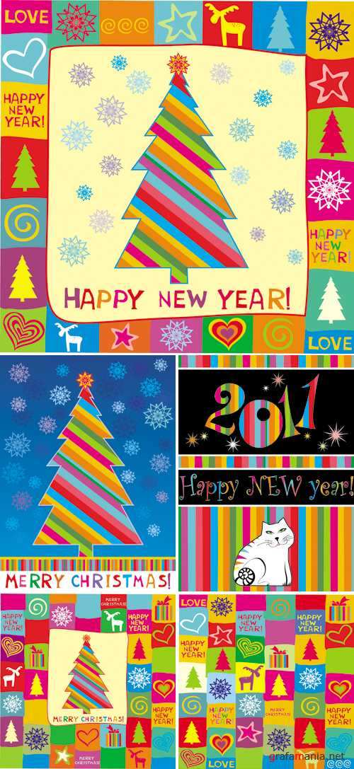 New Year Color Seamless Patterns Vector