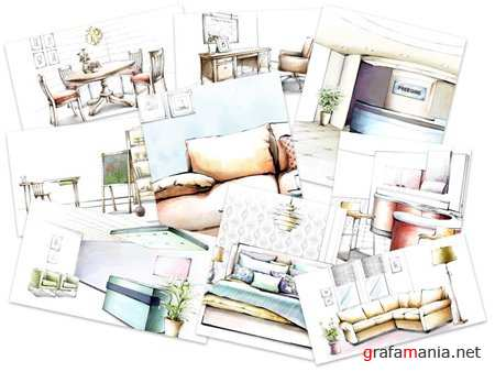 40 Hand Drawing Home Interiors Wallpapers