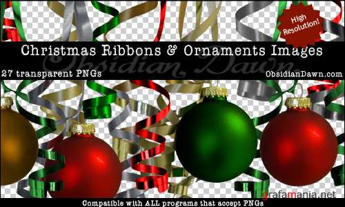 ���������� ��������� � �������� �� ���������� ���� / Christmas Ribbons & Ornaments Transparent PNGs