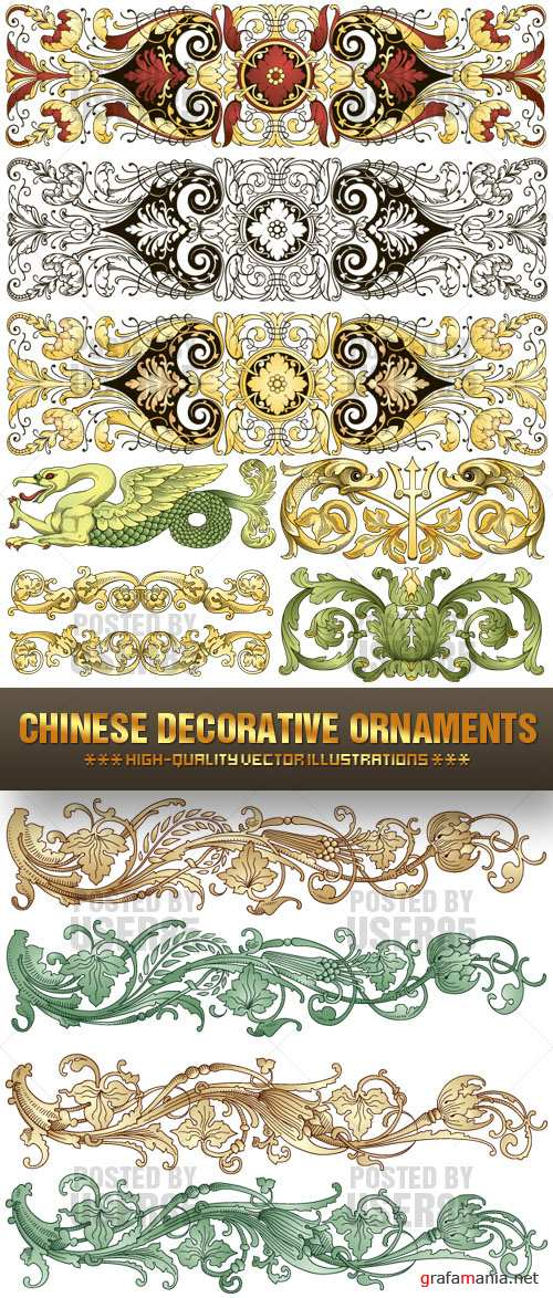 Stock Vector - Chinese Decorative Ornaments