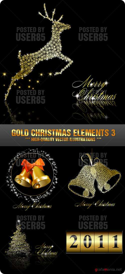 Stock Vector - Gold Christmas Elements 3
