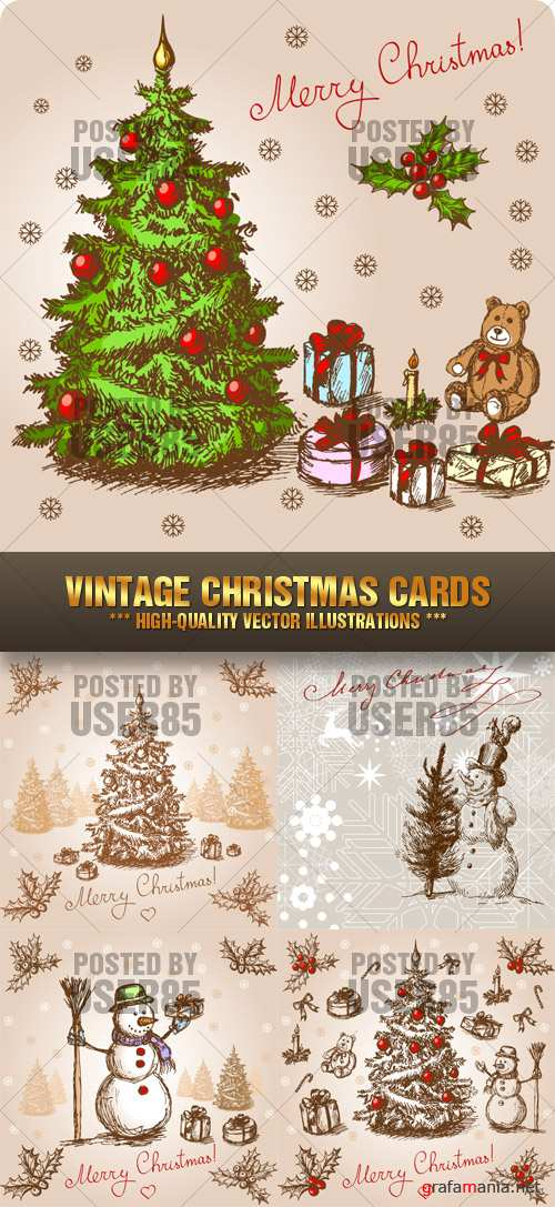 Stock Vector - Vintage Christmas Cards