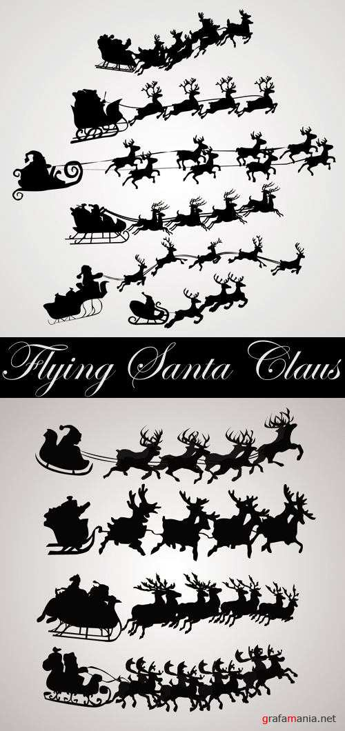 Flying Santa Claus Silhouettes Vector