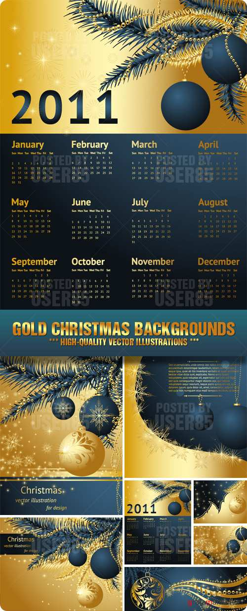 Stock Vector - Gold Christmas Backgrounds