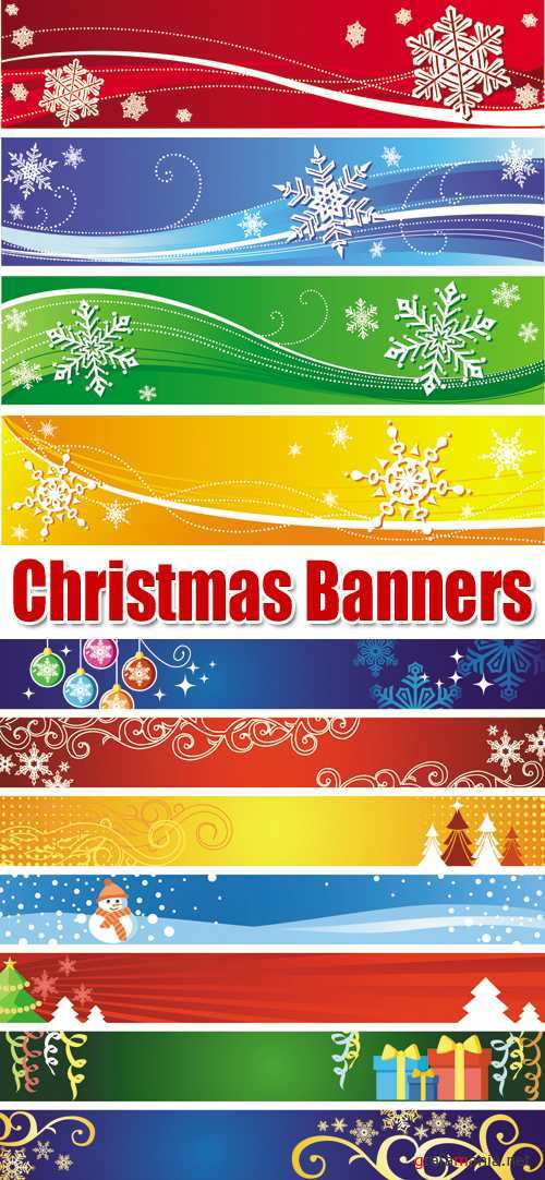 Christmas Color Banners Vector