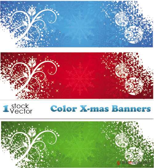 Color X-mas Banners Vector