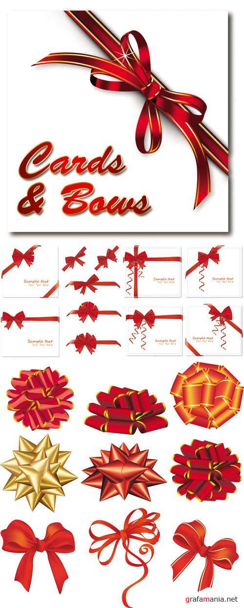 Cards and Red Bows Vector