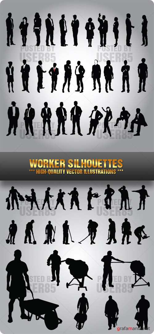 Stock Vector - Worker Silhouettes