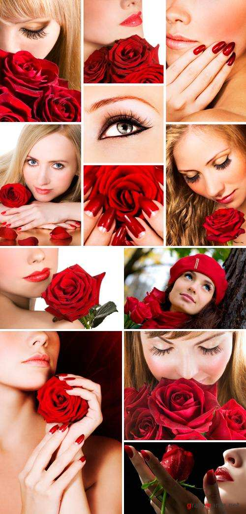 Stock Photo - Girls with Red Roses