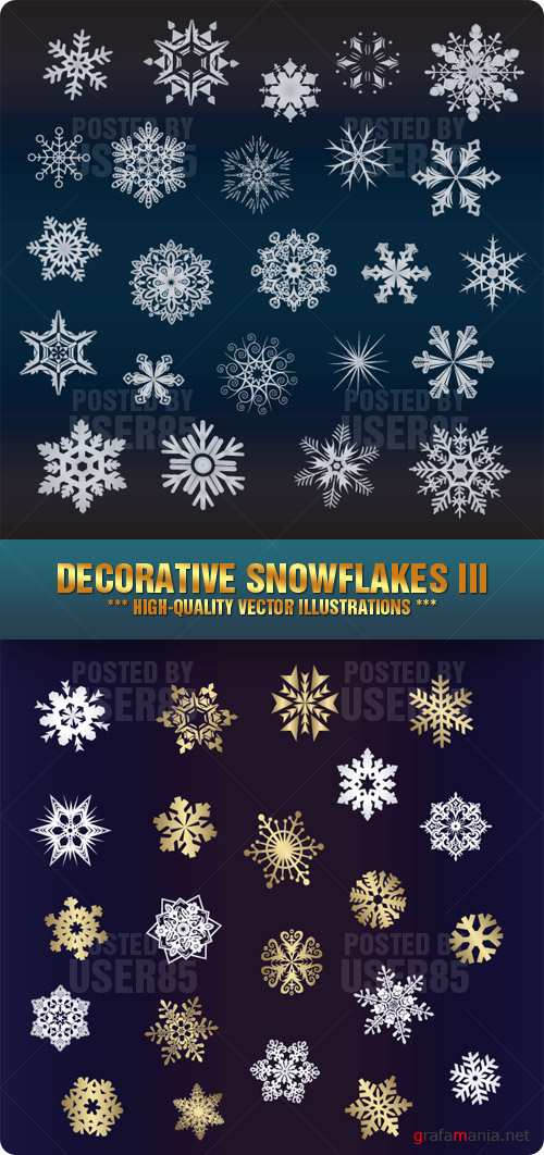 Stock Vector - Decorative Snowflakes III