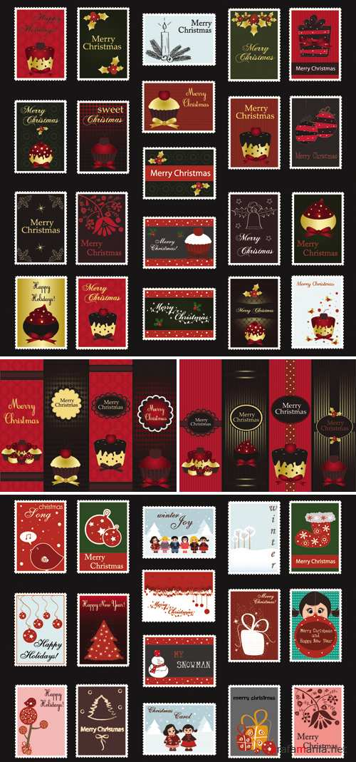Stylish Christmas Banners and Postage Stamps Vector