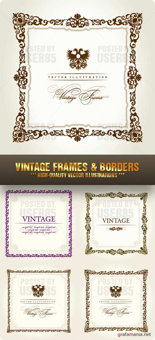 Stock Vector - Vintage Frames & Borders