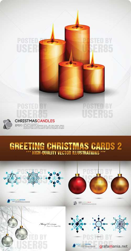 Stock Vector - Greeting Christmas Cards 2