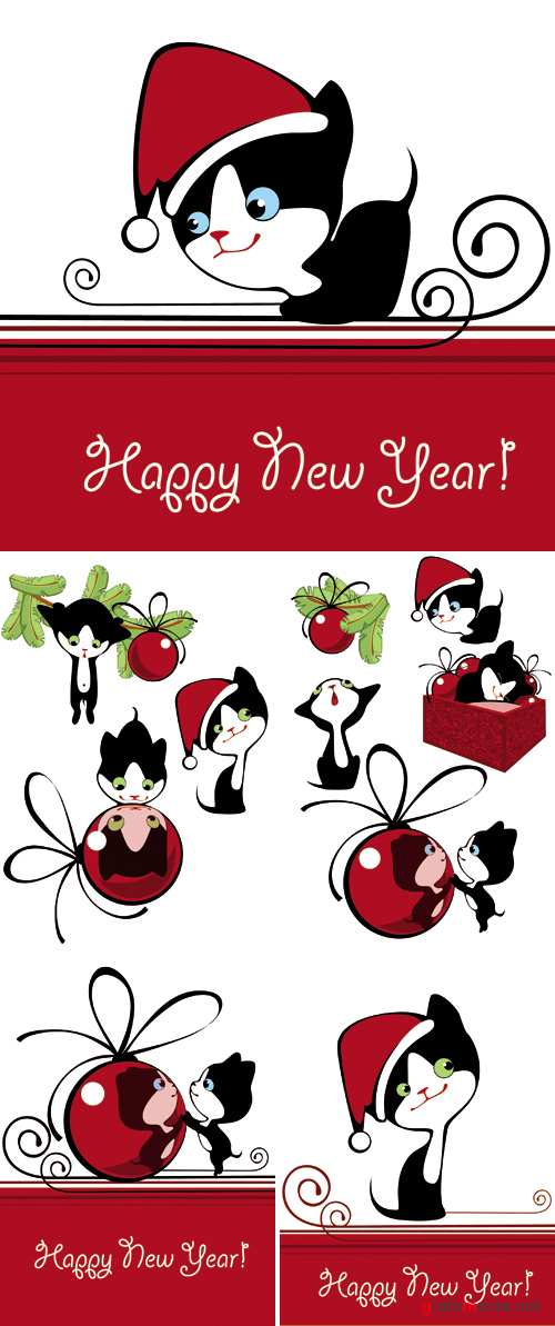 New Year Funny Cats Vector