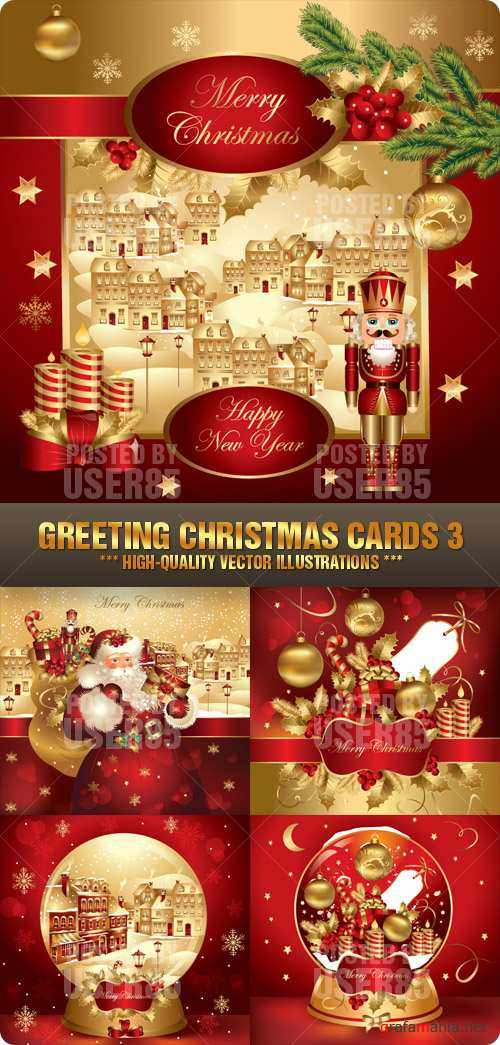 Stock Vector - Greeting Christmas Cards 3