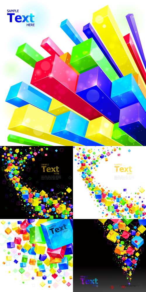 Color Cubes Abstract Backgrounds