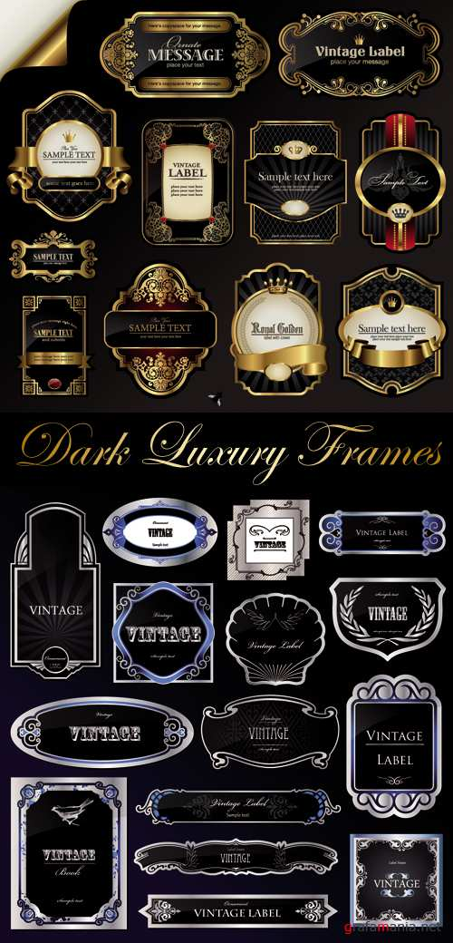 Dark Luxury Frames Vector