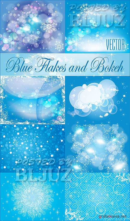 Blue Flakes and Bokeh