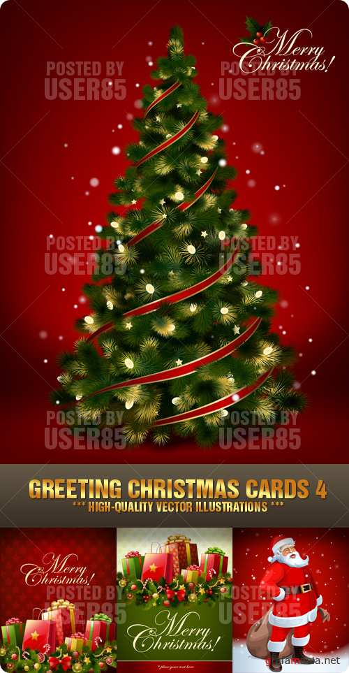 Stock Vector - Greeting Christmas Cards 4