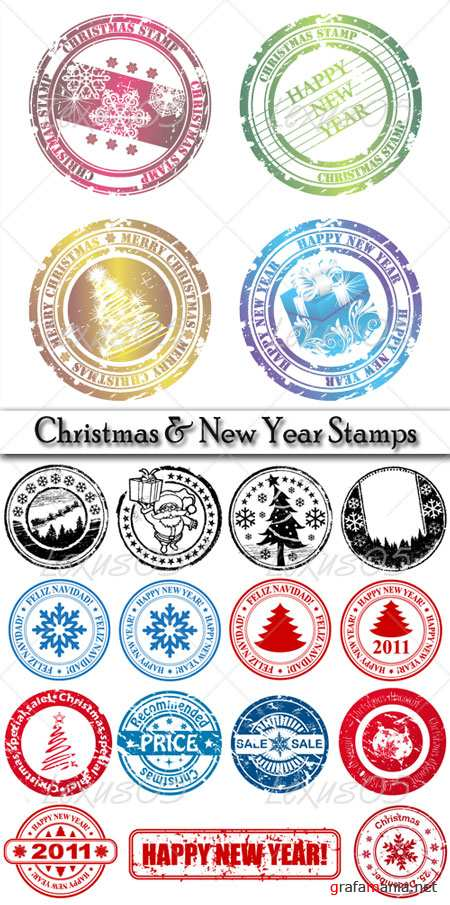 Christmas and New Year stamps - Vector