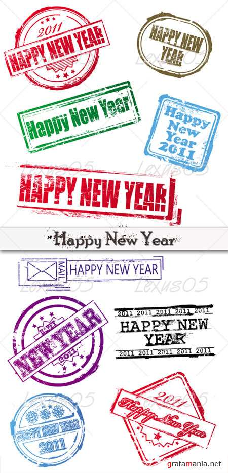 New Year Rubber Stamps Set
