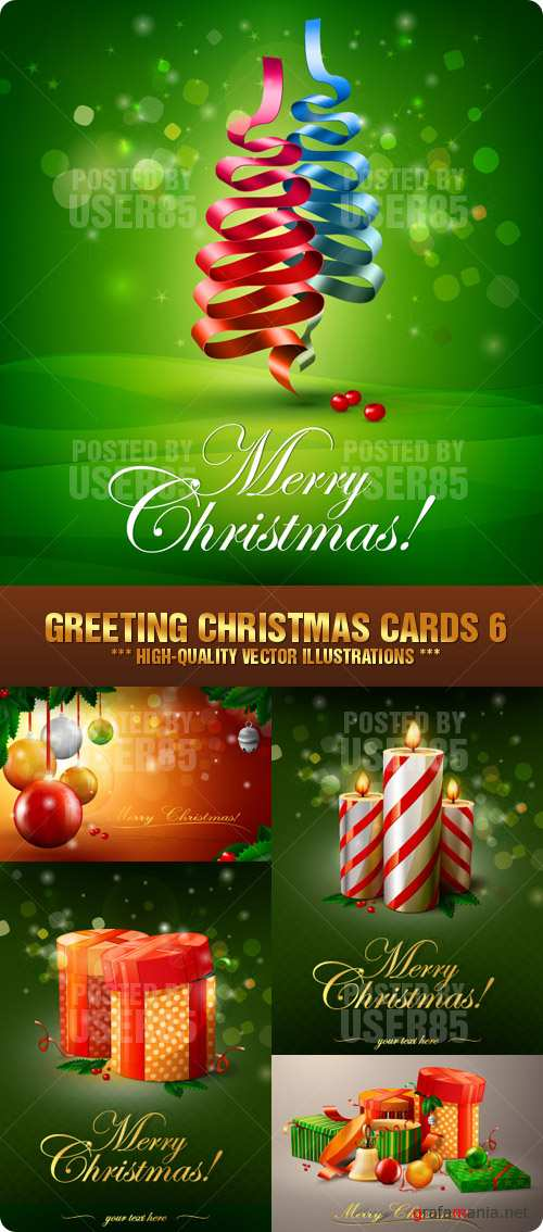 Stock Vector - Greeting Christmas Cards 6