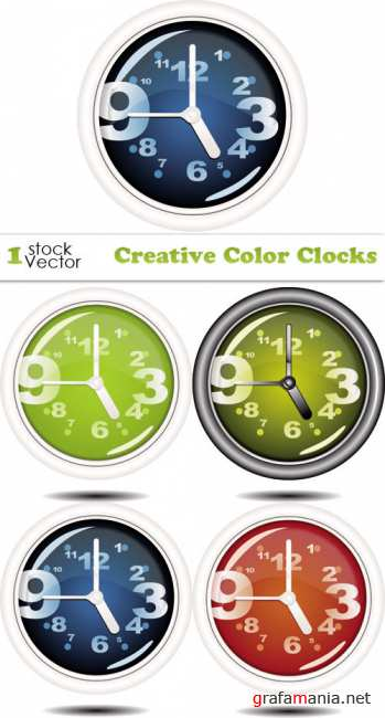 Creative Color Clocks Vector