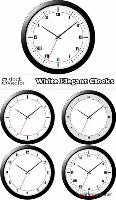 White Elegant Clocks Vector