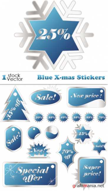 Blue X-mas Stickers Vector