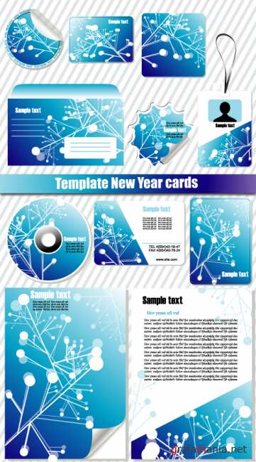 Template New Year cards
