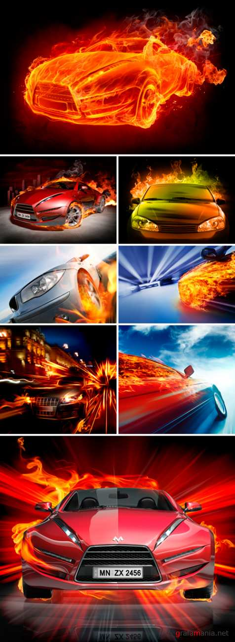 Stock Photo - Car and Flame