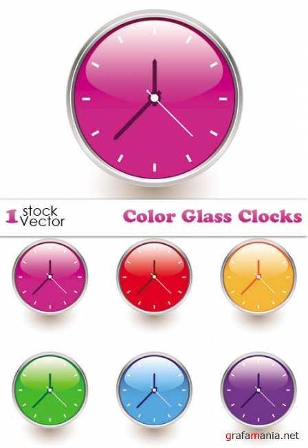 Color Glass Clocks Vector
