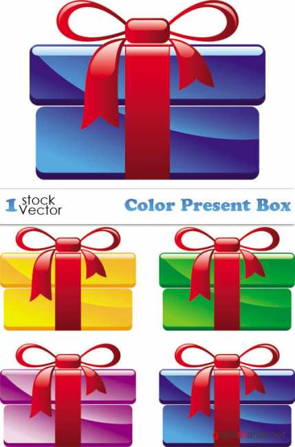 Color Present Box Vector