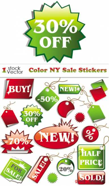 Color X-mas Sale Stickers Vector