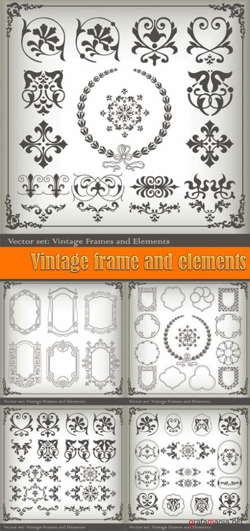 Vintage frame and elements