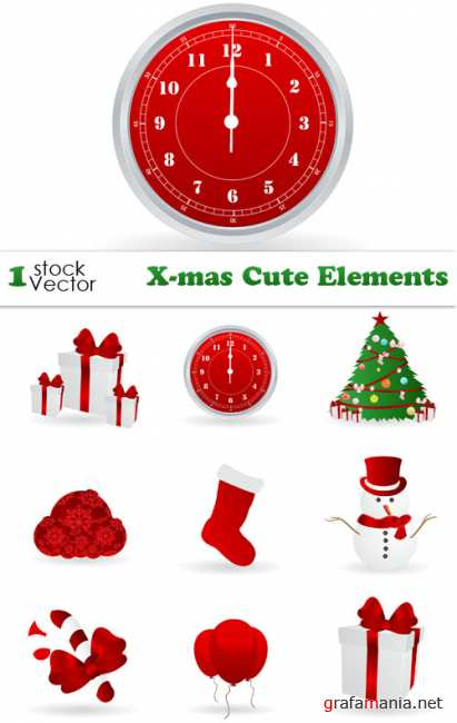 X-mas Cute Elements Vector