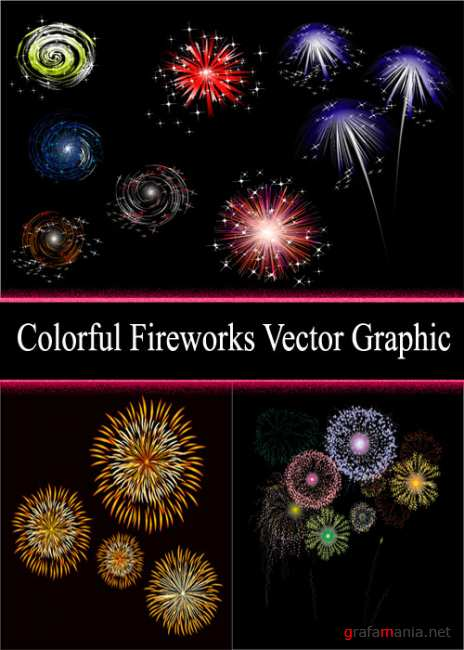 Colorful Fireworks Vector Graphic
