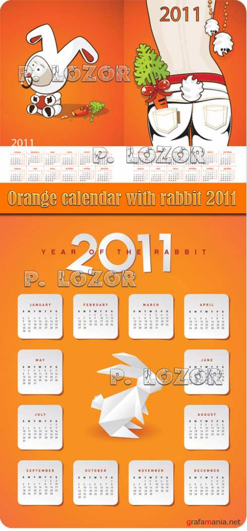 Orange calendar with rabbit 2011