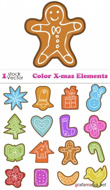 Color X-mas Elements Vector