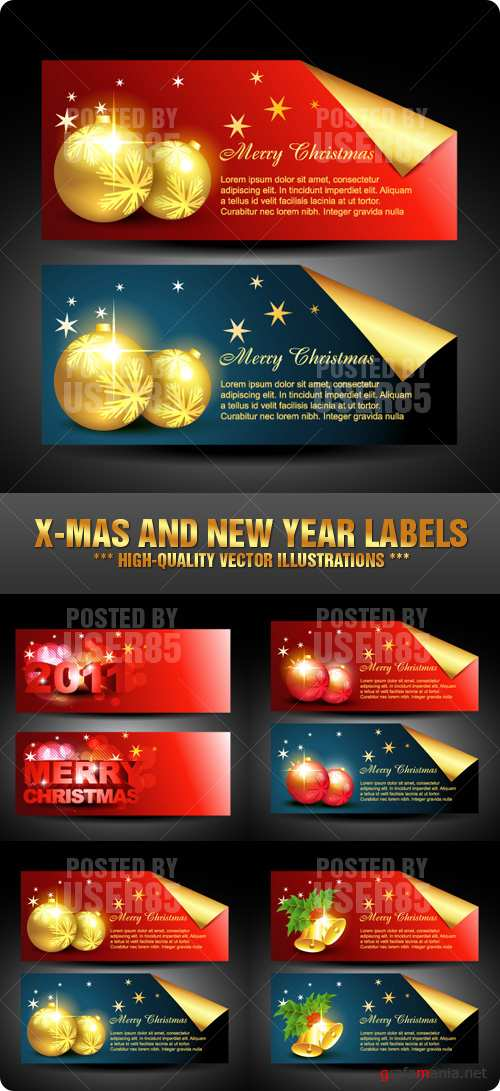 Stock Vector - X-Mas and New Year Labels