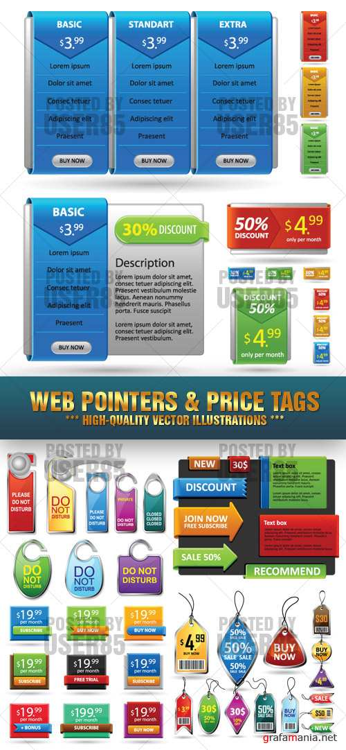 Stock Vector - Web Pointers & Price Tags