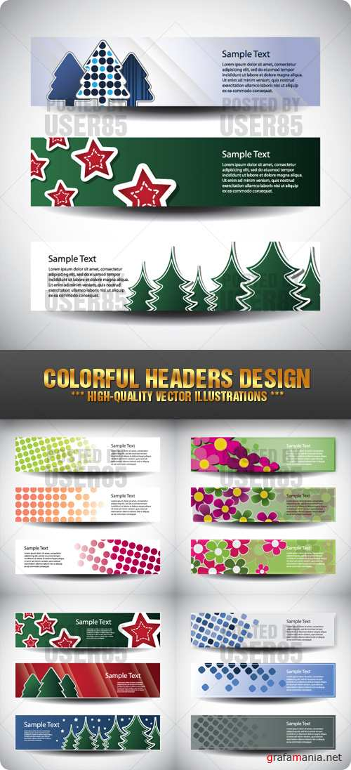 Stock Vector - Colorful Headers Design