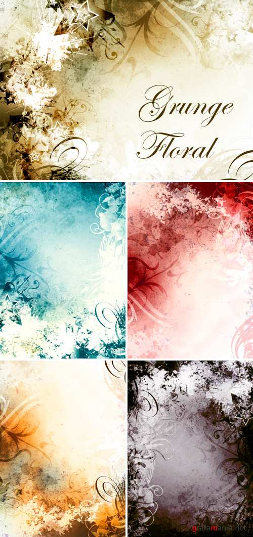 Stock Photo - Grunge Floral Backgrounds