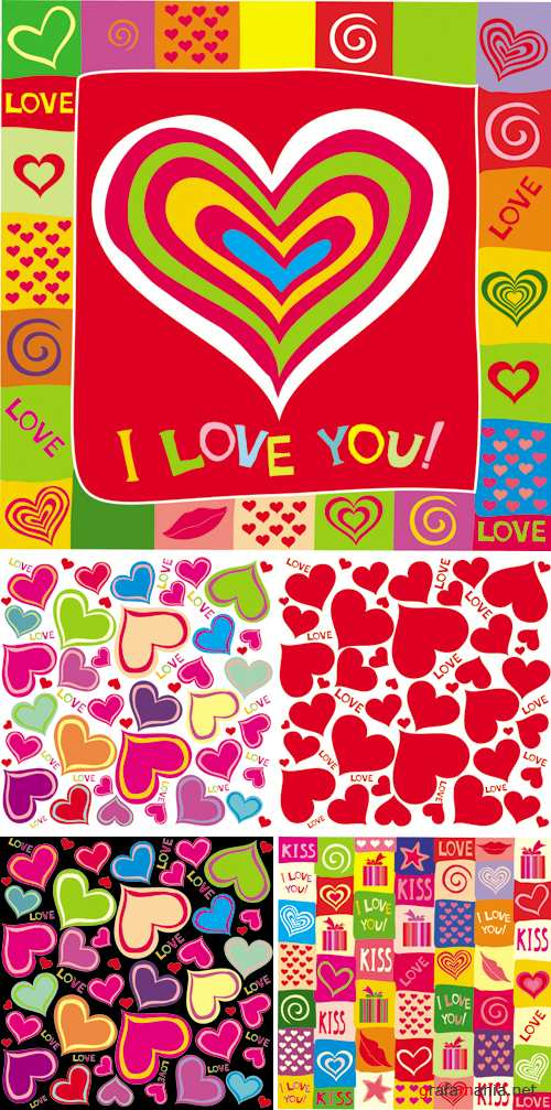 Hearts Seamless Patterns Vector