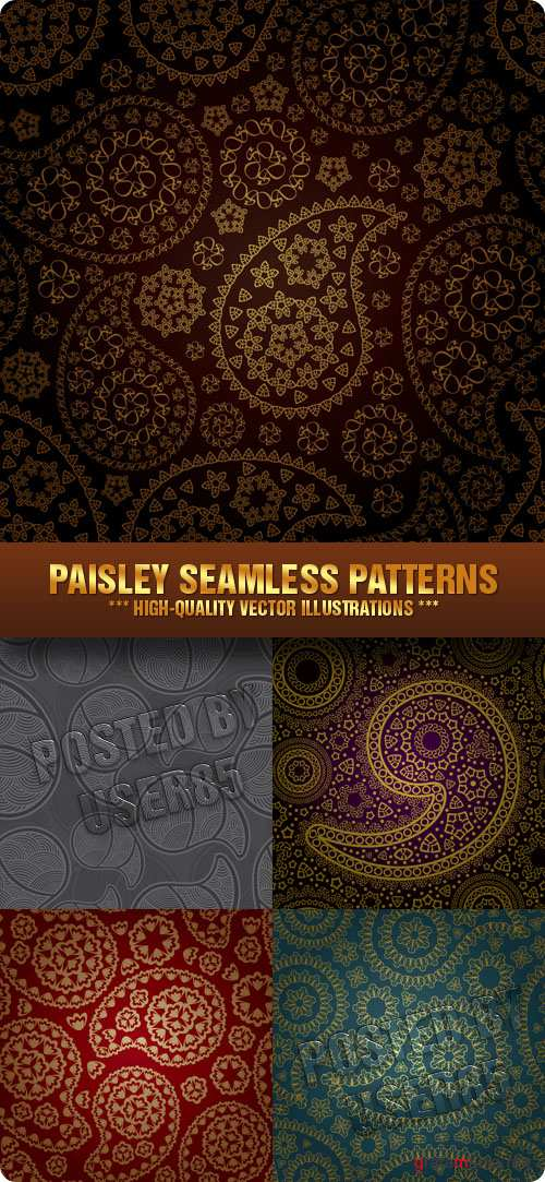 Stock Vector - Paisley Seamless Patterns