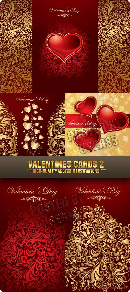 Stock Vector - Valentines Cards 2