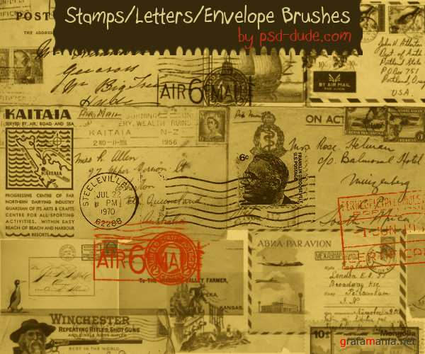 Photoshop Stamps Letters and Envelope Brushes